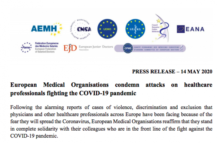 UEMO signs joint press release condemning attacks on healthcare professionals during COVID-19